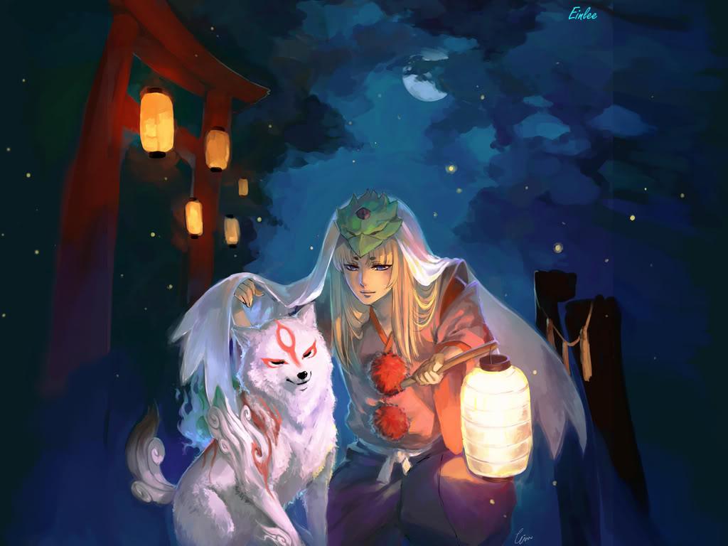 animal blonde_hair blue closed_eyes cloud clouds eyes full_moon goddess hakama helmet highres japanese_clothes kneeling lamp long_hair male moon night okami star ushiwakamaru veil wolf