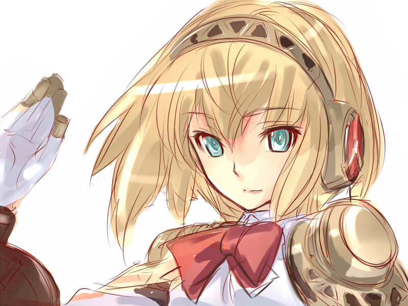aegis blonde_hair dodai_shouji persona persona_3 robot solo waving