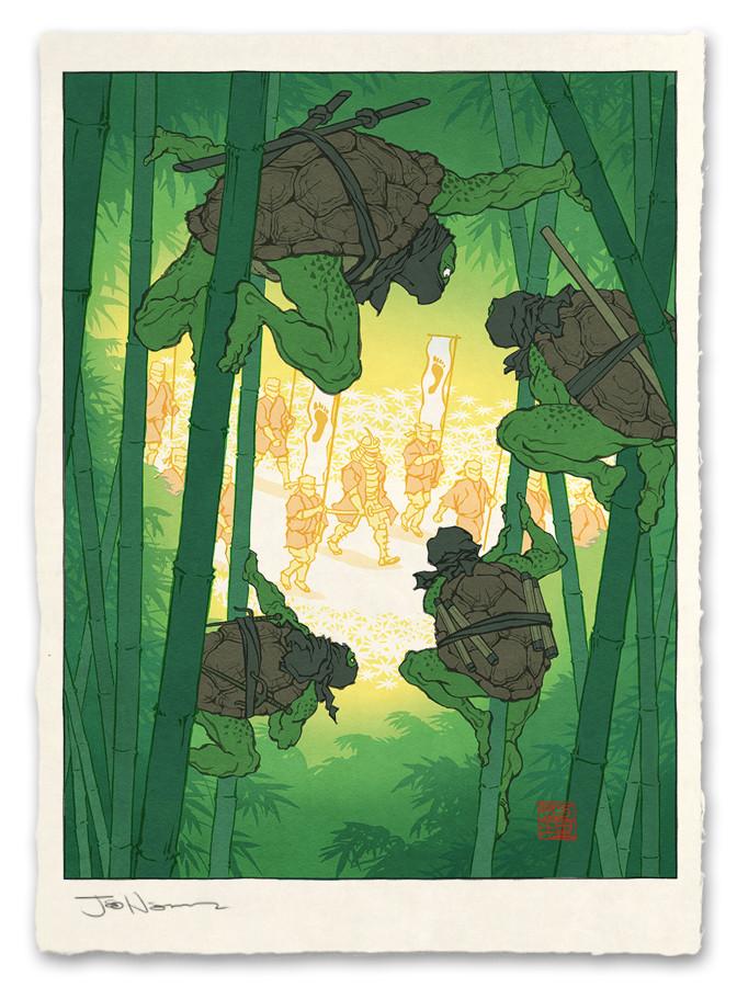 bamboo bamboo_forest donatello face_mask fine_art_parody foot_clan forest jed_henry leonardo mask michelangelo nature nihonga ninja ninjatou nunchaku parody raphael sai_(weapon) sheath sheathed short_sword shredder staff sword teenage_mutant_ninja_turtles ukiyo-e weapon