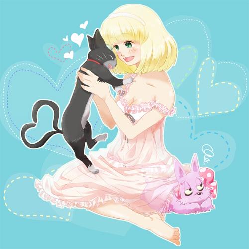 1girl ao_no_exorcist artist_request bare_legs barefoot blonde_hair blush bob_cut cat dress feet kuro_(ao_no_exorcist) lowres mephisto_pheles moriyama_shiemi smile sundress