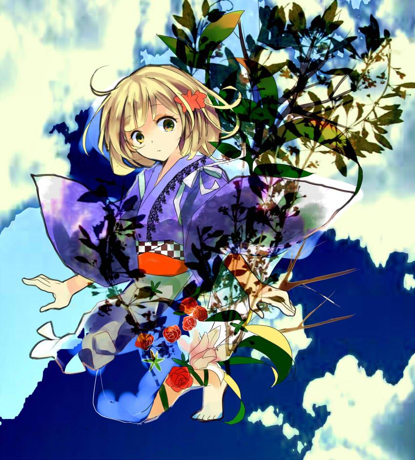 ao_no_exorcist barefoot blonde_hair bob_cut feet flower hair_flower hair_ornament haori japanese_clothes kimono kneeling mannha moriyama_shiemi obi rose