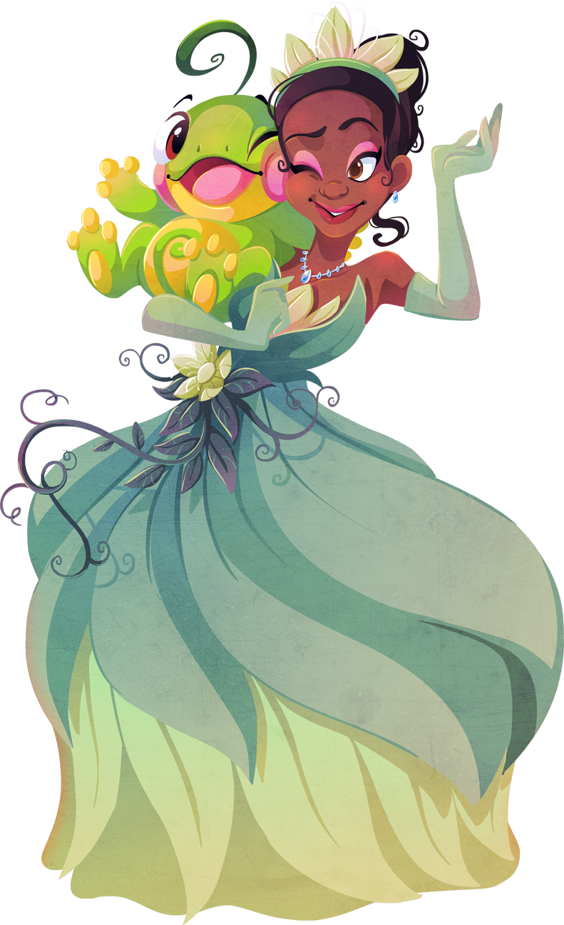 1girl bare_shoulders brown_eyes brown_hair cheek-to-cheek crossover dark_skin disney dress earrings elbow_gloves flower gloves highres jewelry kuitsuku necklace pokemon pokemon_(creature) politoed simple_background the_princess_and_the_frog tiana tiara transparent_background wink
