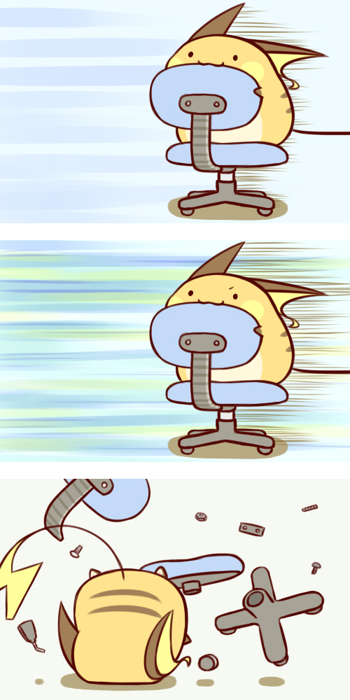 :3 cafe_(chuu_no_ouchi) chair no_humans pokemon raichu
