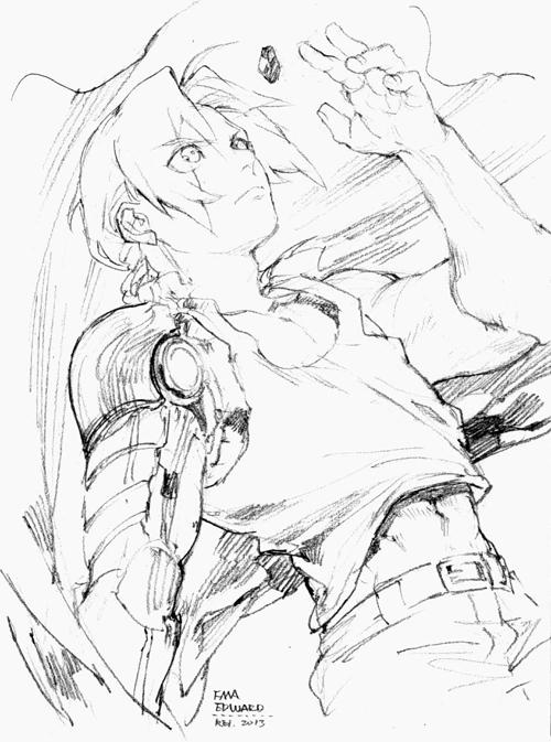 1boy artificial_arm braid edward_elric fullmetal_alchemist philosopher's_stone rei_(sanbonzakura) solo sword traditional_media weapon