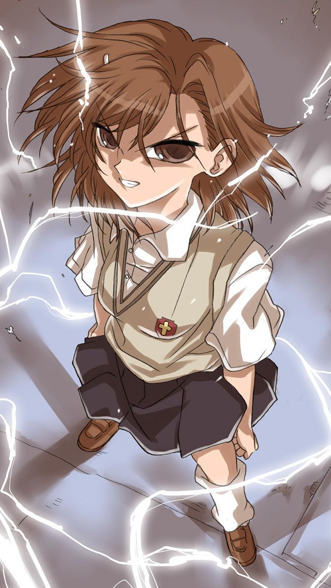 1girl biribiri brown_eyes brown_hair electricity kyouno_aki misaka_mikoto school_uniform short_hair to_aru_kagaku_no_railgun to_aru_majutsu_no_index