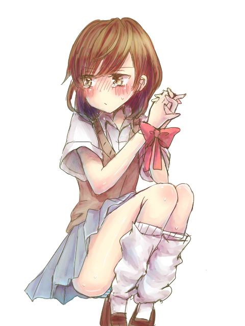 1girl brown_eyes brown_hair misaka_mikoto mochi0103 ribbon school_uniform short_hair socks to_aru_kagaku_no_railgun to_aru_majutsu_no_index