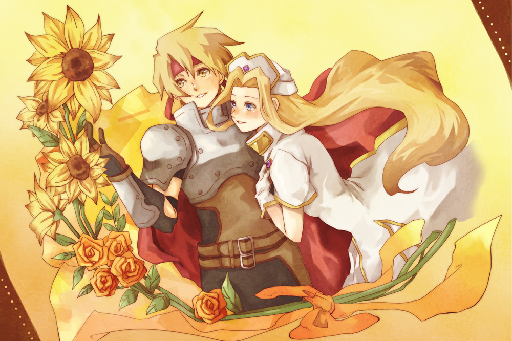 1girl armor blonde_hair blue_eyes cape cardinal777 cless_alvein flower gloves hat headband long_hair mint_adenade orange_rose rose smile tales_of_(series) tales_of_phantasia yellow_eyes