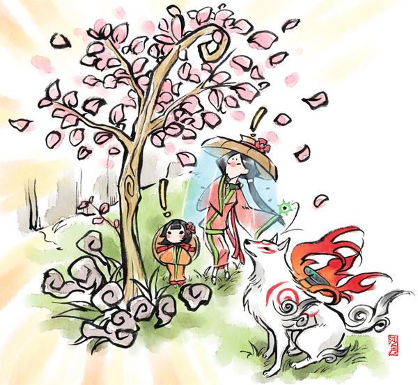 black_hair cherry_blossoms child flower goddess japanese_clothes kimono long_hair okami petals ponytail short_hair tree veil wolf