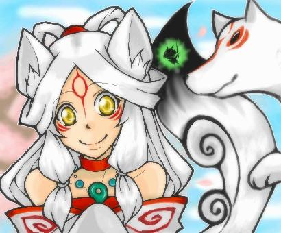 animal_ears bare_shoulders bodypaint dual_persona goddess happy issun japanese_clothes jewelry long_hair lowres magatama necklace okami personification smile tail white_hair wolf wolf_ears wolf_eyes yellow_eyes