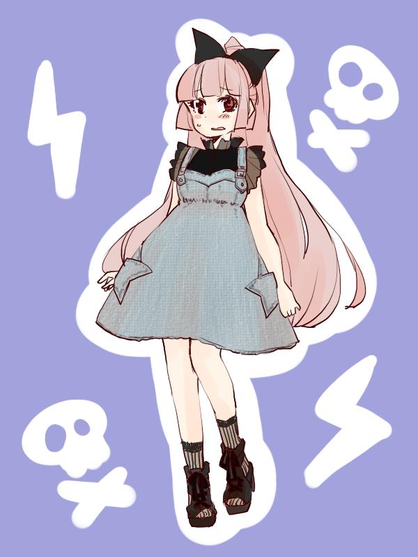 1girl alternate_costume bow contemporary dress fujiwara_no_mokou hair_bow hair_ribbon komaku_juushoku long_hair red_eyes ribbon silver_hair solo touhou