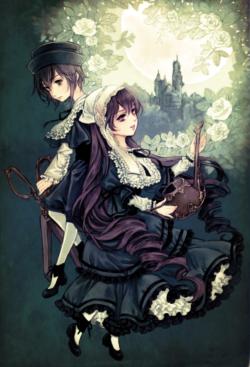 brown_eyes brown_hair castle dress drill_hair flower hat highres long_hair rozen_maiden scissors short_hair siblings souseiseki suiseiseki top_hat twins twintails very_long_hair watering_can yukishiro_(hitsuji)