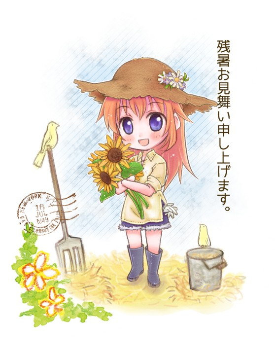1girl bird blue_eyes blush boots bucket charlotte_e_yeager collared_shirt daisy dated denim denim_shorts flower gloves hat hay long_hair new_york open_mouth pitchfork postage_stamp redhead rubber_boots shorts simple_background smile solo straw_hat strike_witches sunflower translation_request white_background yuni_(artist)