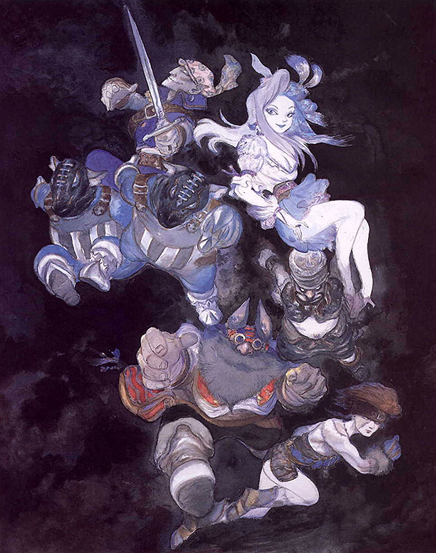 baku blank cinna final_fantasy final_fantasy_ix marcus nero_brothers ruby_(ff9) yoshitaka_amano