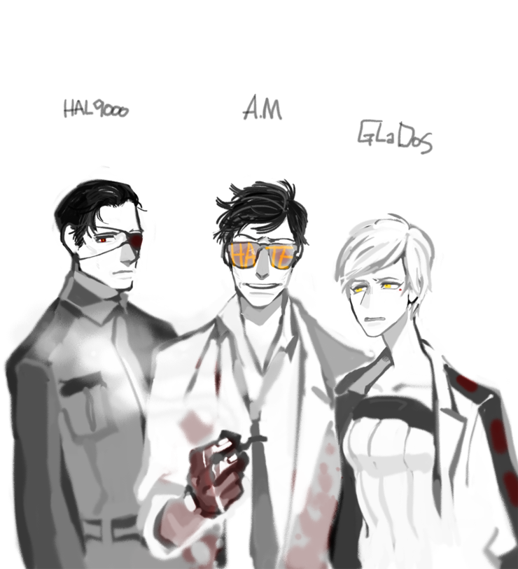 1girl 2boys am annoyed black_hair blood crossover evil_grin evil_smile expressionless expressive_clothes eyebrows eyepatch glados glasses grin hal_9000 labcoat messy_hair military military_uniform mole multiple_boys muted_color necktie personification pipe smile uniform white_hair yellow_eyes
