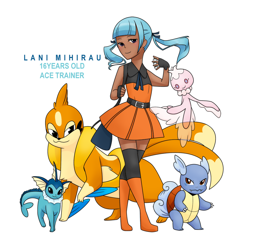 1girl :3 ace_trainer_(pokemon) bangs belt blue_hair blunt_bangs boots brown_eyes character_name commentary dark_skin eeveelution_project fingerless_gloves floatzel frillish gloves knee_boots lani_mihirau looking_at_viewer loony_bear multiple_tails original poke_ball pokemon pokemon_(creature) simple_background smile standing tail thigh-highs twintails vaporeon wartortle white_background zettai_ryouiki