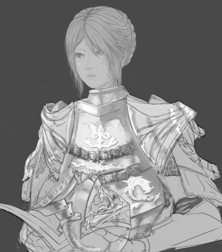 armor dark_souls headwear_removed helmet helmet_removed lady_of_the_darkling monochrome scar solo