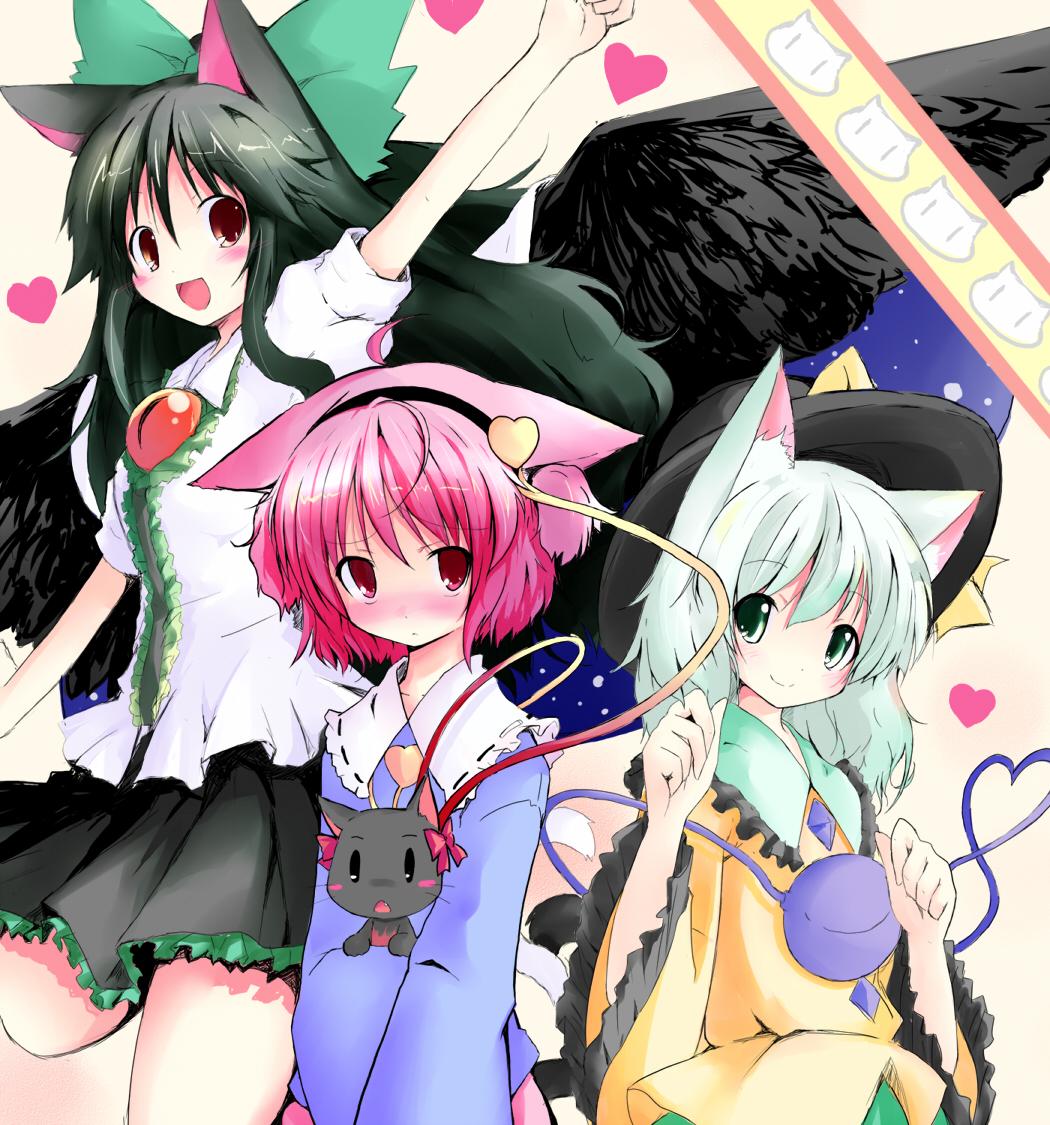 animal_ears car cat_ears cat_tail heart heart_of_string kaenbyou_rin kaenbyou_rin(cat) kaenbyou_rin_(cat) kemonomimi_mode komeiji_koishi komeiji_satori multiple_girls reiuji_utsuho shichinose tail touhou