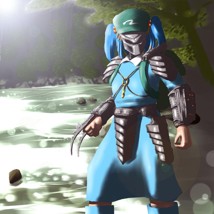 armor armored_dress blue_hair crossover fusion hat kawashiro_nitori parody predator predator_(film) shiro_sato shirosato solo touhou twintails wrist_blades