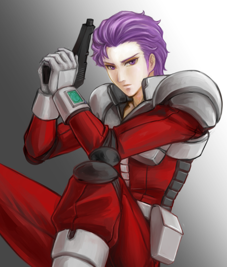1boy amemiya eric_blanke gun gundam_battlefield_record_uc_0081 pilot_suit purple_hair short_hair violet_eyes weapon zeon