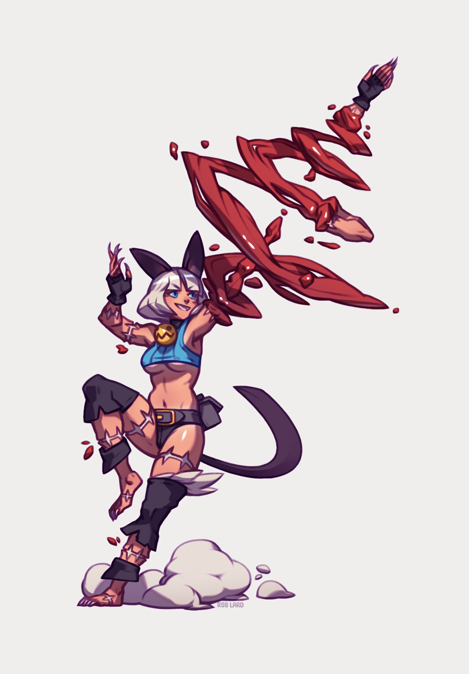1girl animal_ears attack bare_shoulders bell bell_collar blood blue_eyes breasts cat_ears cat_tail collar crop_top dark_skin detached_leggings dust_cloud fingerless_gloves gloves highres midriff nadia_fortune rob_lara scar severed_hand short_hair simple_background skullgirls solo tail thighhighs underboob white_hair