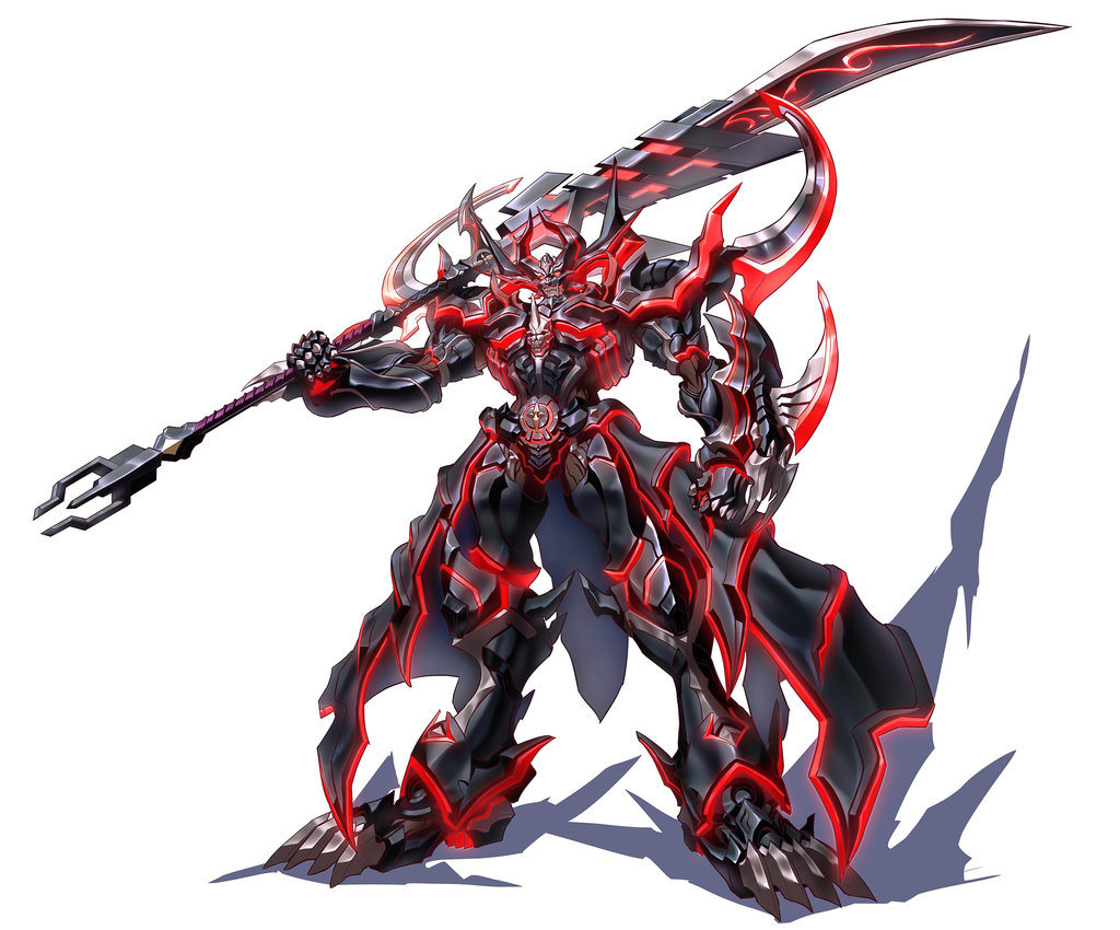 1boy armor armored_dress black_armor boots character_request christopher_harden claws dark_knight full_armor full_body garo:vanishing_line garo_(series) gauntlets glaive gloves helmet holding holding_weapon knight lance looking_at_viewer male_focus metal neon_lights polearm red_eyes shoulder_armor skull solo spear standing weapon zhen_long