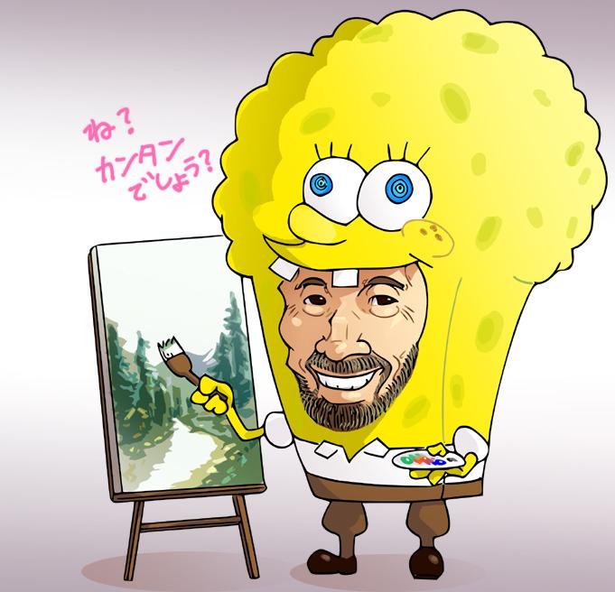 afro art_brush beard bob_ross chuubatsu_nagano easel facial_hair paintbrush palette spongebob_squarepants_(character) spongebob_squarepants_(cosplay)