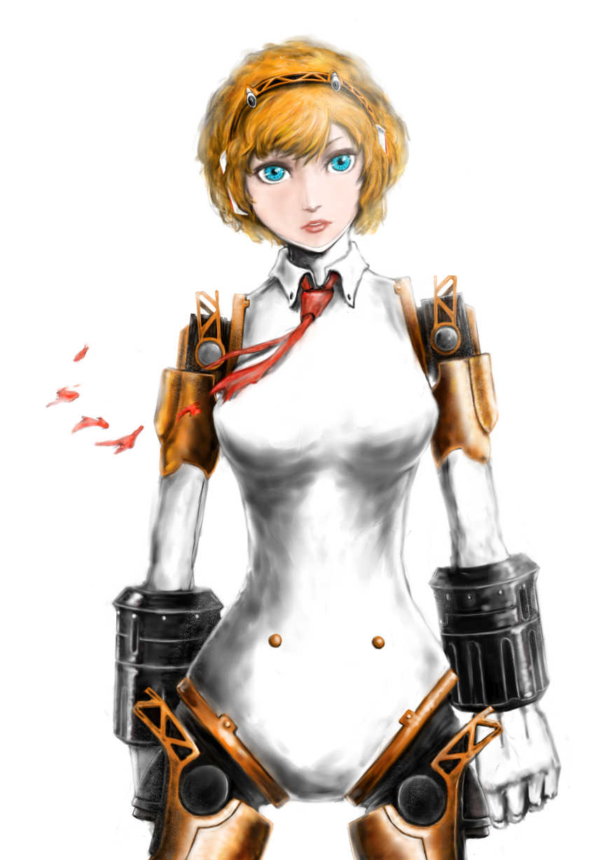 1girl aegis android blonde_hair blue_eyes breasts eyeshadow hairband highres lips makeup necktie no_nipples nose persona persona_3 robot_ears robot_joints short_hair solo torn_clothes yuu_(primenumber7)