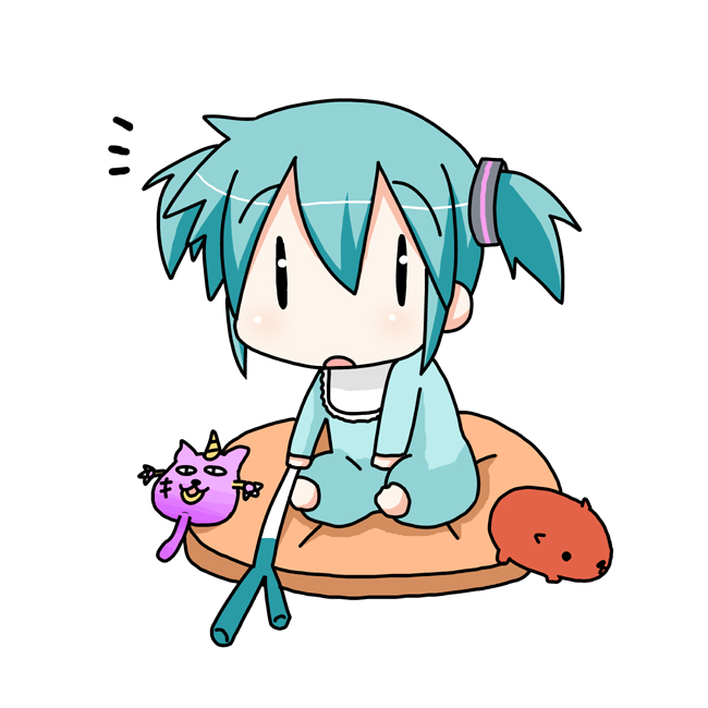 barefoot capybara-san chibi chibi_miku cushion hatsune_miku minami_(artist) short_twintails spring_onion the_thing_not_quite_sure_what_it_is twintails vocaloid young