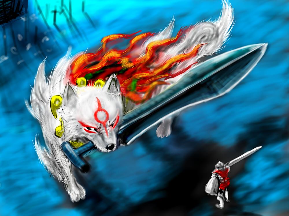 amaterasu dark_souls fire great_grey_wolf_sif magatama mouth_hold ogamiya_jin ookami_(game) parody sword weapon wolf