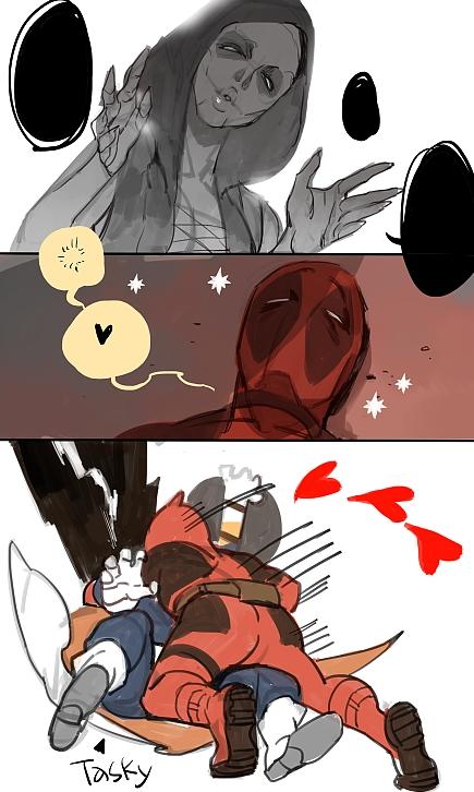 deadpool dreaming facepaint genderswap glomp hug marvel shadow shishio sleeping taskmaster