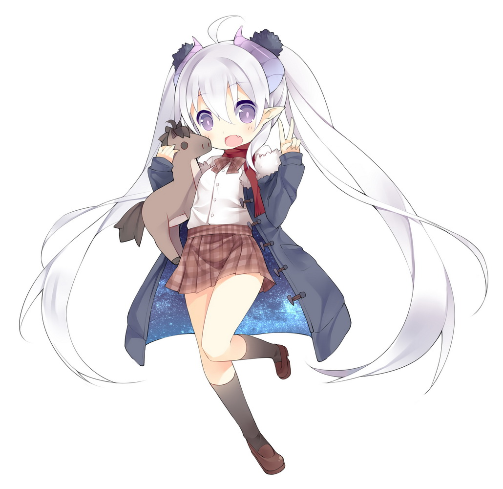 1girl ahoge black_legwear coat fang horns loafers long_hair looking_at_viewer mofetousu_furuna open_mouth original pointy_ears saru school_uniform shoes silver_hair simple_background skirt solo stuffed_horse twintails v very_long_hair violet_eyes white_background
