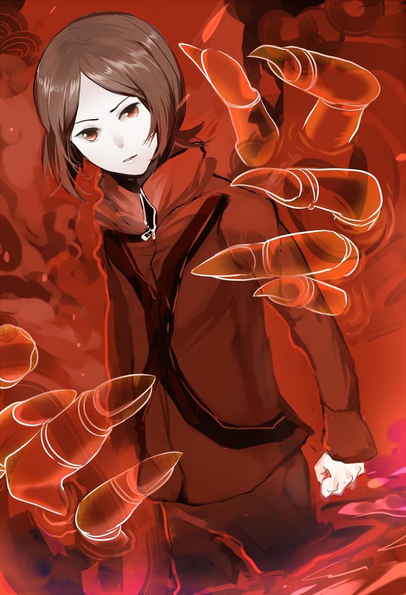 1boy apollo_(persona_2) brown_eyes brown_hair claws jacket persona persona_2 red_jacket slee solo suou_tatsuya