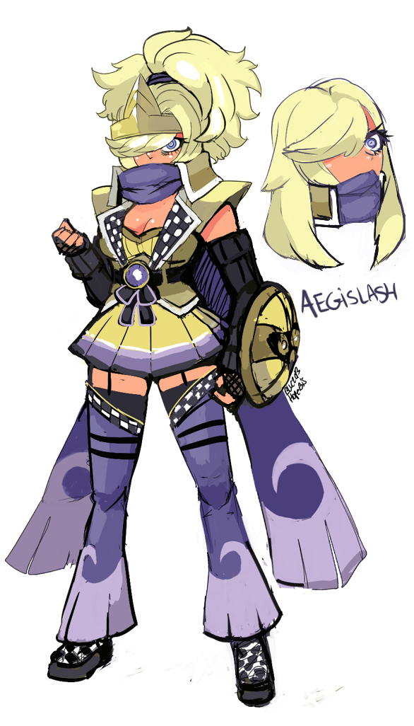 1girl aegislash blonde_hair blue_(hopebiscuit) detached_leggings detached_sleeves eyelashes fingerless_gloves forehead_protector garter_straps gloves hair_over_one_eye pauldrons personification pleated_skirt pokemon scarf shield skirt solo thighhighs