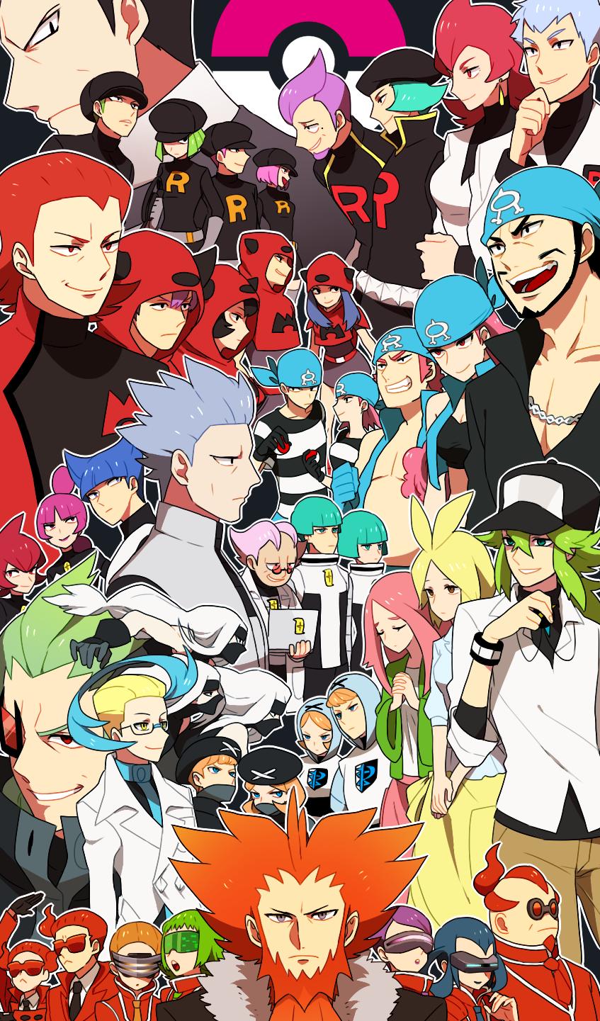 akagi_(pokemon) akebi_(pokemon) akuroma_(pokemon) anthea_(pokemon) aogiri_(pokemon) apollo_(pokemon) athena_(pokemon) bara_(pokemon) concordia_(pokemon) correa_(pokemon) dark_trinity fleur-de-lis_(pokemon) geechisu_(pokemon) highres homura_(pokemon) izumi_(pokemon) jupiter_(pokemon) kagari_(pokemon) lambda_(pokemon) lance_(pokemon) li_sakura mars_(pokemon) matsubusa_(pokemon) momiji_(pokemon) n_(pokemon) pluto_(pokemon) pokemon pokemon_(game) pokemon_bw pokemon_bw2 pokemon_dppt pokemon_frlg pokemon_hgss pokemon_rse pokemon_xy sakaki_(pokemon) saturn_(pokemon) team_aqua team_aqua_grunt team_flare team_flare_grunt team_galactic team_galactic_grunt team_magma team_magma_grunt team_plasma team_plasma_grunt team_rocket team_rocket_grunt ushio_(pokemon) xerosicy_(pokemon)