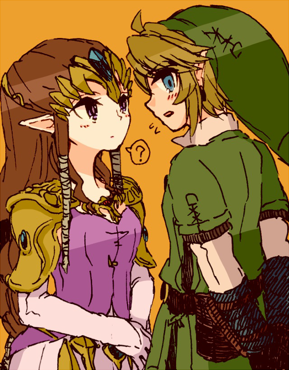 ? blonde_hair blush brown_hair earrings gloves hat jewelry link nintendo pointy_ears princess_zelda sunagimo_(nagimo) the_legend_of_zelda the_legend_of_zelda:_twilight_princess tiara twilight_princess