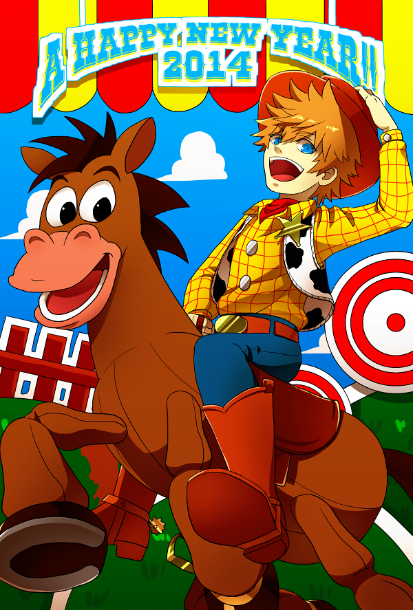 1boy a5_arashi blonde_hair blue_eyes boots bullseye cowboy_boots cowboy_hat disney hat horse kingdom_hearts roxas sheriff_badge sheriff_woody sheriff_woody_(cosplay) toy_story