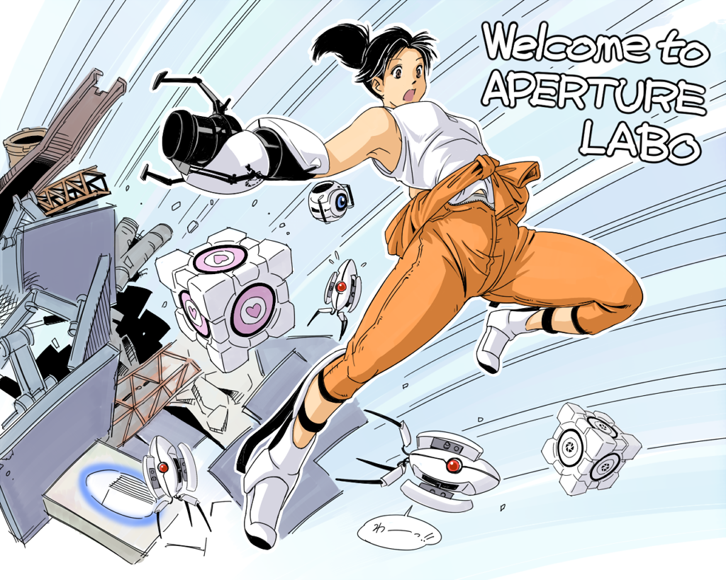 1girl aoino_broome aperture_science_advanced_knee_replacement aperture_science_handheld_portal_device black_hair boots breasts chell clothes_around_waist emphasis_lines jumpsuit ponytail portal portal_2 sleeveless tank_top turret_(portal) weighted_companion_cube wheatley