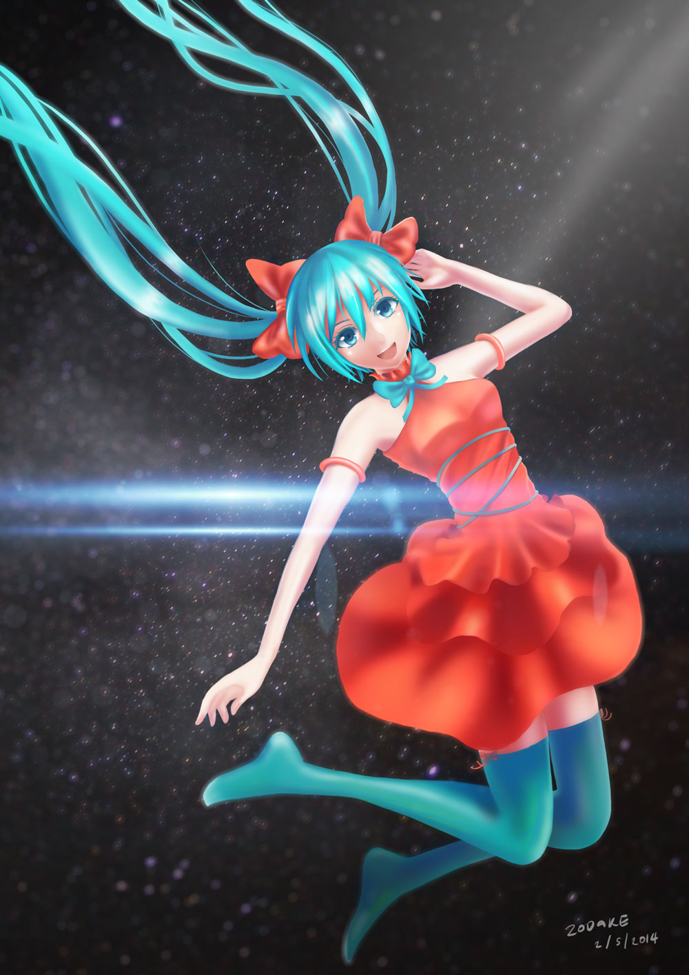 1girl aqua_eyes aqua_hair aqua_legwear dress hatsune_miku open_mouth smile solo thighhighs twintails vocaloid zodake