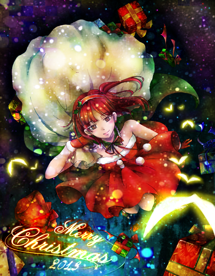 1girl bare_shoulders christmas dress gift long_hair looking_at_viewer magi_the_labyrinth_of_magic morgiana ponytail red_eyes redhead santa_costume side_ponytail sleeveless sleeveless_dress smile solo