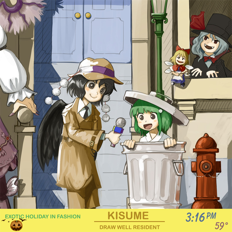 bow count_von_count crossover door engrish fangs fire_hydrant fusion halloween hat kermit_the_frog kisume maku_(artist) microphone mystia_lorelei necktie oscar_the_grouch parody pumpkin ranguage remilia_scarlet sesame_street shameimaru_aya shanghai shanghai_doll street top_hat touhou trashcan wings