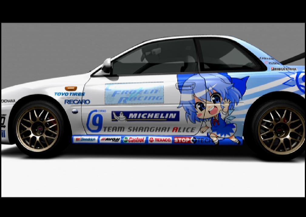 blue_eyes blue_hair blush_stickers bow car cirno forza_motorsport_3 hair_bow ru_?_ku_@_tired... subaru_(car) subaru_impreza touhou wings
