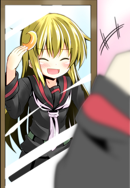 1girl ^_^ alternate_hairstyle blush closed_eyes crescent hair_down ichimi kantai_collection mirror nagatsuki_(kantai_collection) nagatsuki_(kantai_collection)_(cosplay) neckerchief open_mouth personification reflection satsuki_(kantai_collection) school_uniform serafuku skirt smile solo