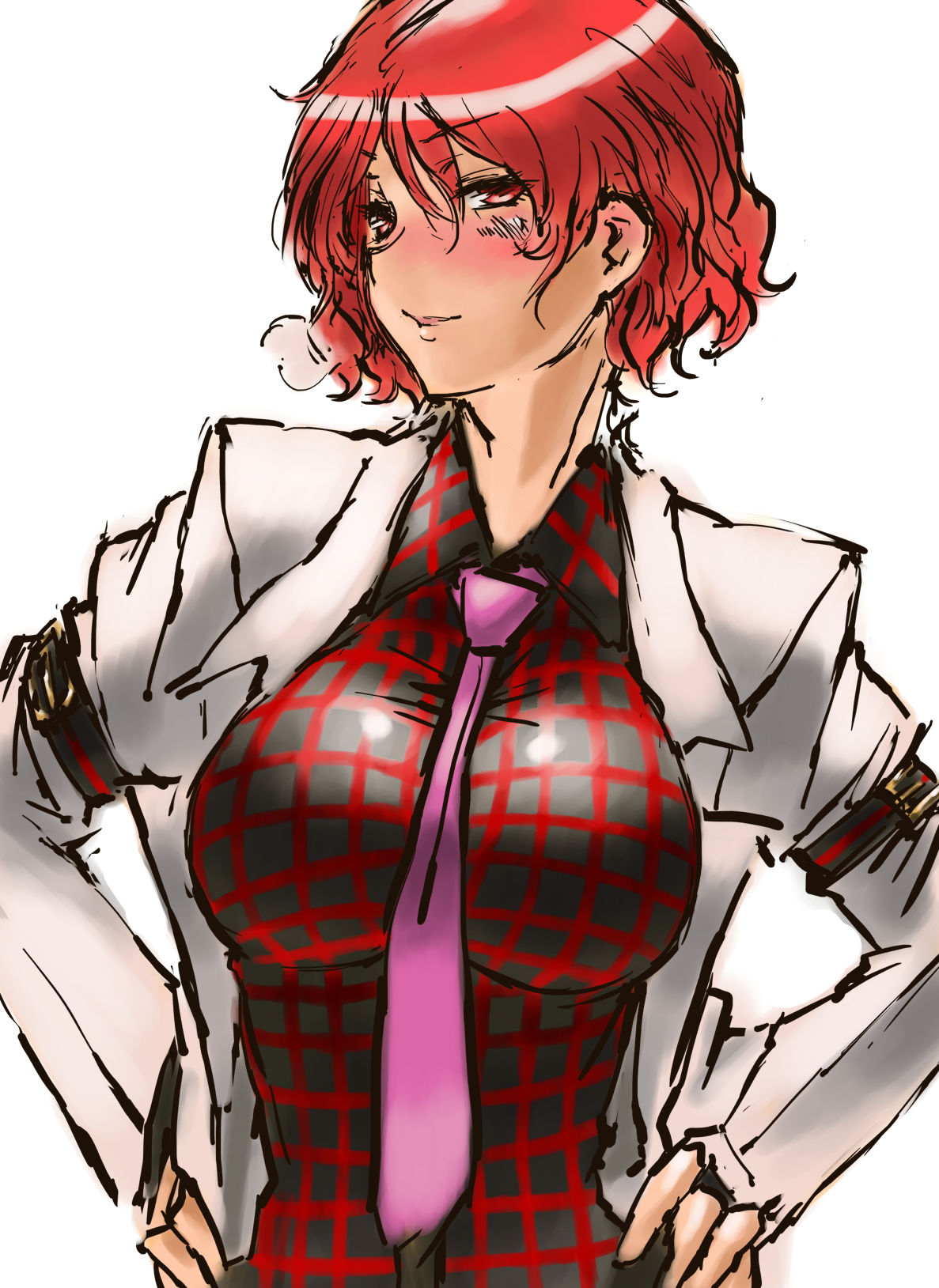 1girl blush breasts hands_on_hips highres horikawa_raiko impossible_clothes impossible_shirt jacket large_breasts nameo_(judgemasterkou) necktie plaid plaid_shirt red_eyes redhead short_hair solo touhou