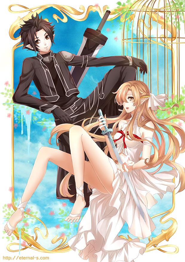 1boy 1girl asuna_(sao) barefoot black_eyes black_hair brown_eyes brown_hair cage ear_covers elf gloves kirito kirito_(sao-alo) long_hair navel pointy_ears short_hair spiky_hair sword sword_art_online ten-chan_(eternal_s) titania_(sao) weapon yuuki_asuna
