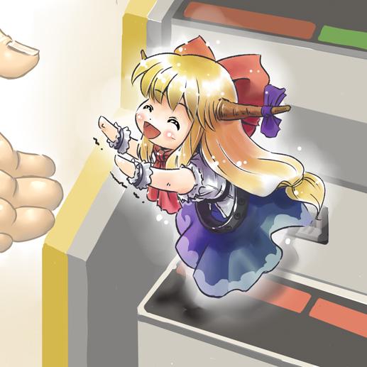 blush bow chibi hands horns ibuki_suika long_hair minigirl opengear opungia parody suica touhou