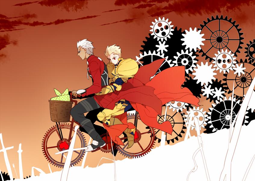 2boys archer armor bicycle blonde_hair fate/stay_night fate_(series) gears gilgamesh multiple_boys pinki_(shounenkakuseiya) unlimited_blade_works white_hair
