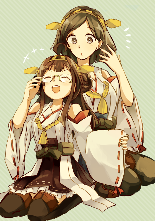 2girls bare_shoulders black_hair black_legwear breasts brown_hair detached_sleeves double_bun glasses glasses_removed green-framed_glasses hair_ornament hairband headgear japanese_clothes kantai_collection kirishima_(kantai_collection) kongou_(kantai_collection) long_hair multiple_girls neko_ni_chikyuu nontraditional_miko open_mouth pantyhose personification short_hair skirt smile thigh-highs