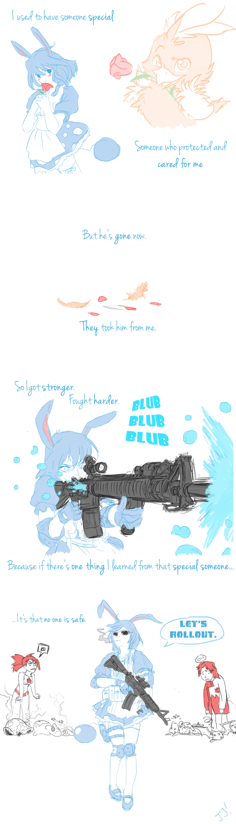 absurdres animal_ears asuna_(pokemon) azumarill blue_hair bubble english flower golbat highres jjgriffin mightyena numel personification pokemon rabbit_ears redhead rose slugma sunglasses tactical_clothes torchic torkoal twitch_plays_pokemon weapon