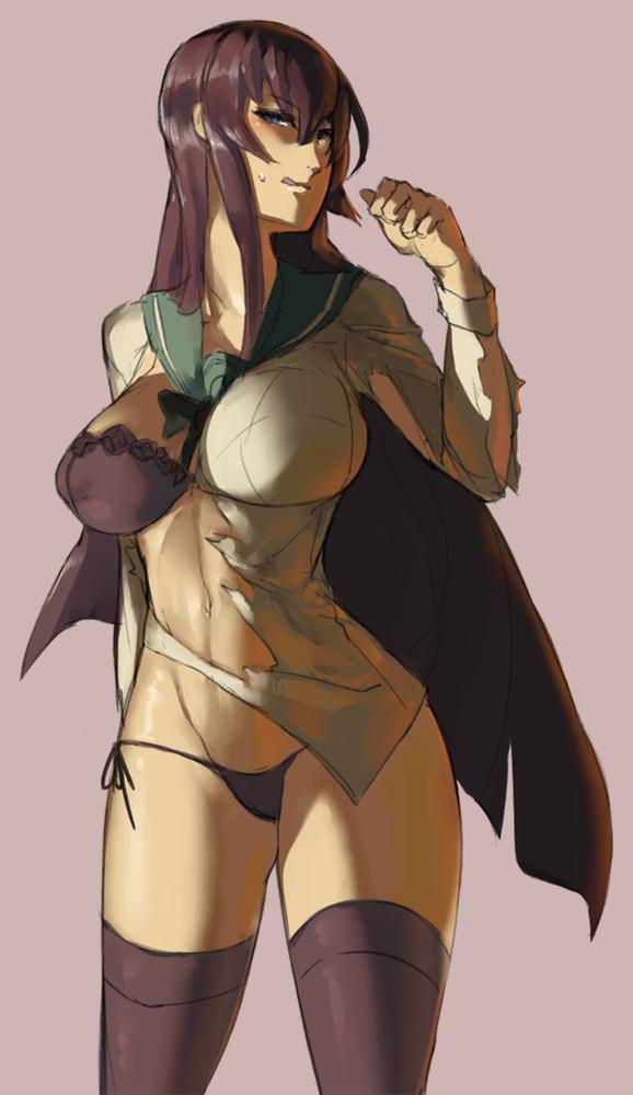 1girl black_hair bra breasts eu03 long_hair looking_at_viewer panties school_uniform serafuku solo torn_clothes underwear