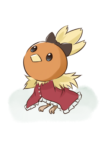 clothed_pokemon cosplay crossover lowres mahou_shoujo_madoka_magica no_humans pokemon pokemon_(creature) sakura_kyouko sakura_kyouko_(cosplay) torchic u_u_(mooooooou)